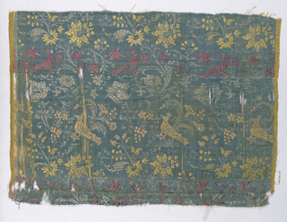 Pattern of peacocks and foliage in rose, yellow, and white on blue, very loosely woven, ground in satin weave.