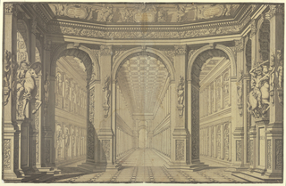 Horizontal rectangle showing large room elaborately decorated with sculptures and ornaments in Roman style opening into a vast hall with aisles at either side separated by walls made of columns. Walls ecorated with niches between columns containing sculptures of ancient heroes.  Devices in Italian on cartouches on cornice.  (Battle of Aneas and Turnus, King of the Rutilians - foreground; participants in Trojan War--background).