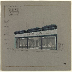 Elegant store facade with deep central entrance with double doors between angled vitrines. The vitrines facing the street display assorted gift items.  Running horizontally across the upper part of the facade, beneath black recessing,  gray marble inscribed with signage (name of shop and European cities where shop branches are located).  Dado decorated with repeated octagonal pattern. Pedestrians are indicated at right.