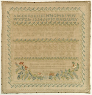 Three alphabets separated by floral vine borders, with a floral garland below. With a floral border on four sides. At the bottom, a verse and inscription.  The verse reads: Let every virtue reign within thy breast That heaven approves or makes its owner blest