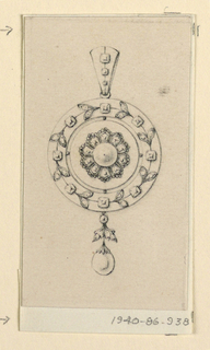 Drawing, Design for a pendant, 1830–40