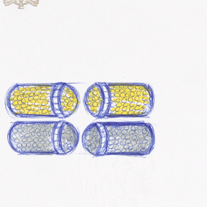 Upper drawing:  Design for yellow diamond pave with small row of white diamond baguettes crafted out of yellow gold; design for brown diamond pave with small row of white diamond baguettes crafted out of white gold.  Middle drawing:  Design for yellow sapphire baguettes with small row of emeralds crafted out of white gold; design for emerald baguettes with small row of yellow saphires crafted in white gold.  Lower drawing: Design for emerald and yellow sapphire ovals surrounded by emerald and yellow sapphire baguettes crafted out of white gold.  These designs were not produced but the middle pair of designs inspired Stefan Hemmerle to create a similar bracelet made of citrine baguettes and 2 citrine cabochons crafted in rose gold and produced in 1997.