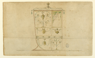 Shown in profile turned toward the right.  Divided into two vertical panels.  The right one had above a window with a curtain.  The panel beside it is decorated with a candelabrum.  The central panel is decorated with a medallion and festoons at left.  A bowl and festoons at right.  The lowest panels are decorated with a medallion portrait and festoons at left with a plant at right.  On top of the roof is a vase with a mark.  Tassels hand at the corners.  The bar is decorated in the width of the chair.