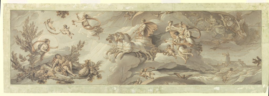 Drawing, Apollo in his Chariot Transforms Night into Day