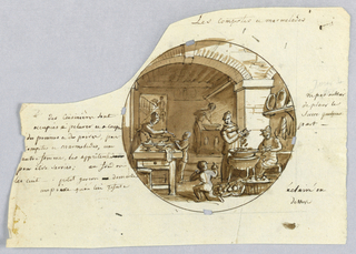 Design for a painted porcelain plate, rondel. Scene in a kitchen.  A figure of a cook, right middleground, cuts fruit into a large bowl while a woman, seated at right, assists her. A young boy, center middleground, picks up a pear with his right hand.   Another woman, left middleground, spoons some marmalade onto a plate held by a small boy, while a cook, right background, stirs the compote (jam) over a wood stove.  A servant/waiter carrying a tray ascends the stairs in the left background.