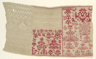 The sampler is divided into three columns. On the left, pattern bands in white withdrawn element work. In the center, pattern bands in whitework and embroidery in red. On the right, spot motifs embroidered in red on a natural ground.