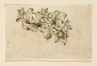 Jewelry design for a brooch. A branch turned to the left, springing from a blossom, with big leaves and small flower stems. Hanging at center, a green drop-like diamond or gem.