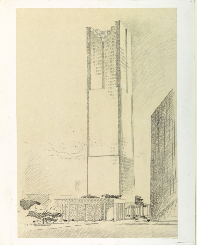 Design of a skyscraper with rows of square windows and stepped roof that goes inward; covered entrance.