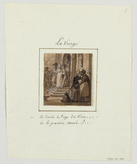 "Design for a painted porcelain plate, square format. Scene at entrance to a church.  Figures of a bride and groom, left middleground, exit the church.  A niche, right background, displays a sculpture of the Virgin and Child.  Two ladies, right foreground. gossip to each other:  ""he's old enough for an affair...ha the poor husband-!..."""