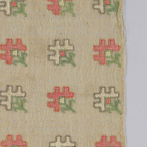 Fragment showing a straight repeat of blossoms in multicolored silk on sheer linen.