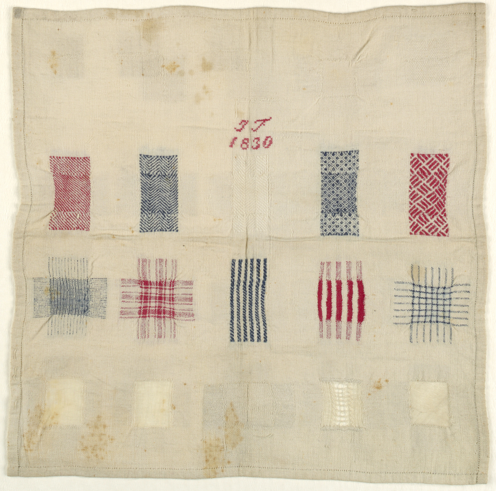 Twenty squares of darning in red, blue, and white.