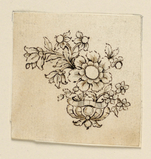 Jewelry design for a brooch. A vase with a large flower stem, a small one, and a leaf stem. In the center is a large blossom.