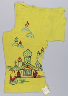Chartreuse fabric cut from a former woman's jacket embroidered with a Russian scene with a building, people, and onion domes in floating clouds. Embroidery worked in red, blue, green, white, and black cord.