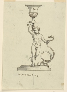 """Vertical rectangle. Design for a candlestick. Below is a base in whose upper moulding the designer inscribed in pen and ink """"onci 2:12."""" The boy Hercules is shown standing upon his right leg and strangling a snake with his left hand. His right hand is raised, carrying a vase as the socket. Written on the vase is """"di Getto."""" Accounts are written in graphite in the upper left corner in pen and ink on verso."""