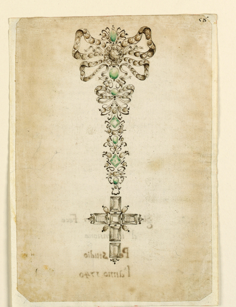 Drawing, Design for a Pendant with Cross