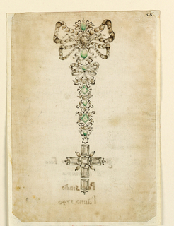 Large to small bows with green stones leading to hanging cross below.