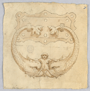 Design for a doorknocker with two dolphin, and a mermaid at center.