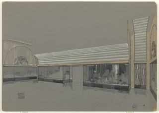 Drawing, Design for Storefront with  Grooved Overhang