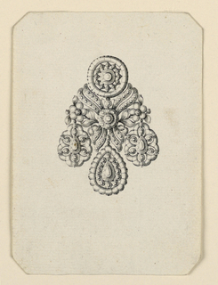 Jewelry design for an earring, a disk above and three drops below. The disk is seemingly the central motif of a bunch, consisting besides it of two flower stems and four scrolls of ribbon, the whole being fastened by a rosette. Bevelled corners.