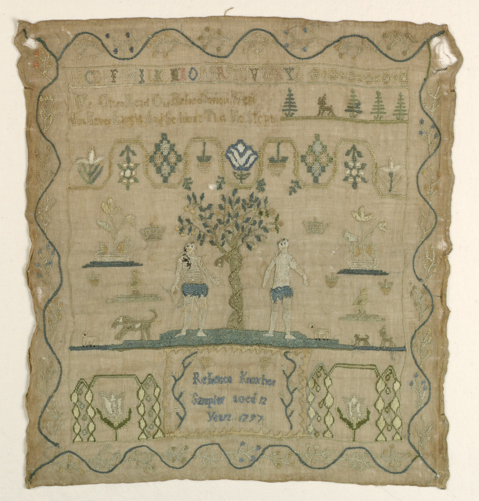 Embroidered in colored silks on a natural linen ground. A single alphabet at the top is followed by a verse:  In the center, Adam and Eve are flanking a tree with serpent coiled around it. At the bottom, tulips frame the inscription. With a stylized floral vine border on four sides.