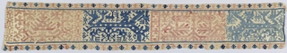 Section of a border in dark blue, light blue and rose in a design of three oblong frames with highly stylized animals and birds. Fourth frame shows a fountain or stylized tree. Minute geometric designs in narrow edge border.