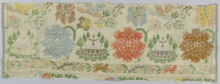 Polychrome large flowers and bird with border on white.