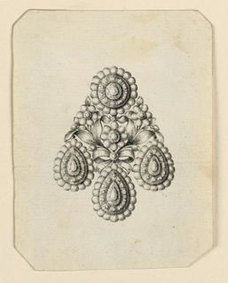 Jewelry design for an earring, the usual scheme, a disk above and three drops below. In the center two flower stems, fastened by a knot, in the middle a blossom. Bevelled corners.