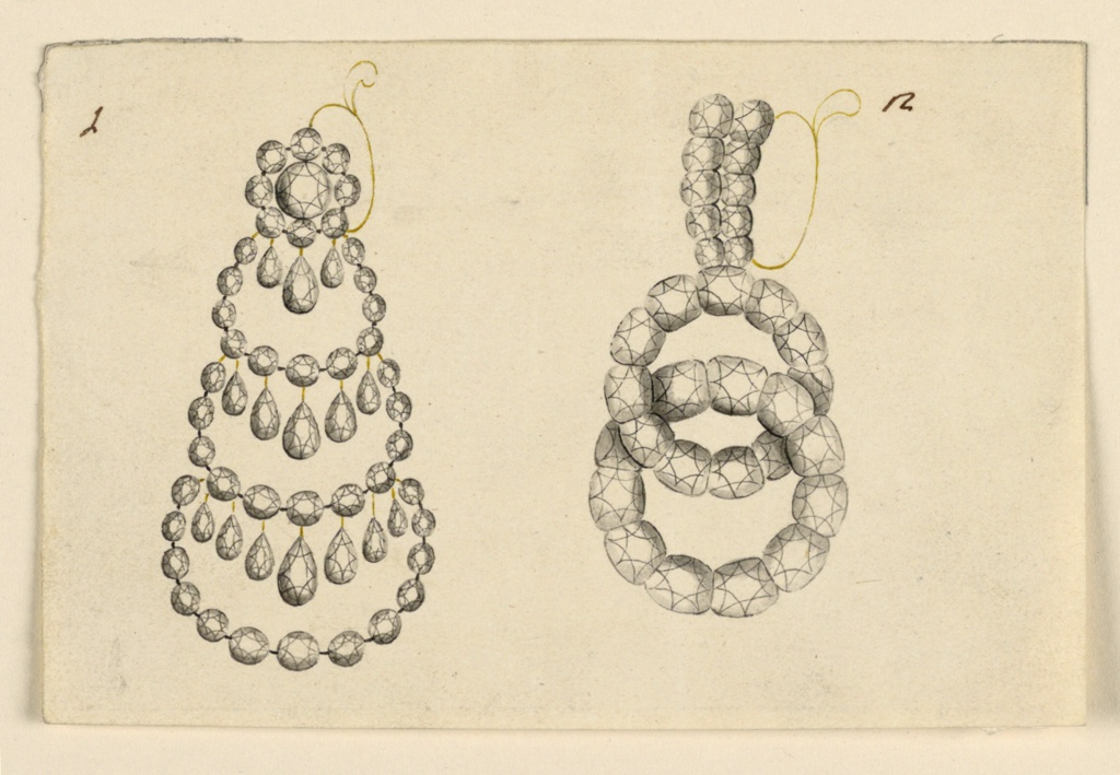 "Jewelry design for earrings. The left one is marked with the number ""1."" Similar to 1938-88-5342 but with a double-sloped ring and one kind of diamond. Number ""2"" has two rows of diamonds on the front of the double-sloped ring and below two interlocked rings of diamonds."