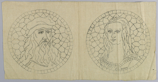 Printed pattern for Cut Fabric embroidery. Design is of Leonardo da Vinci and the Mona Lisa.