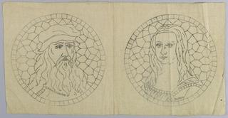 Printed pattern for Cut Fabric embroidery. Design is of Leonardo da Vinci and the Mona Lisa.