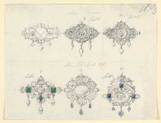 Drawing, Design for six brooches, with satyrs and diamonds, 1870–80