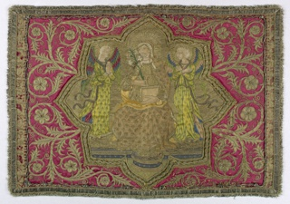 Embroidered cover with religious scene, perhaps the Annunciation.