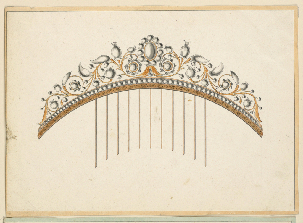 Drawing, Design for a comb, 1830–40