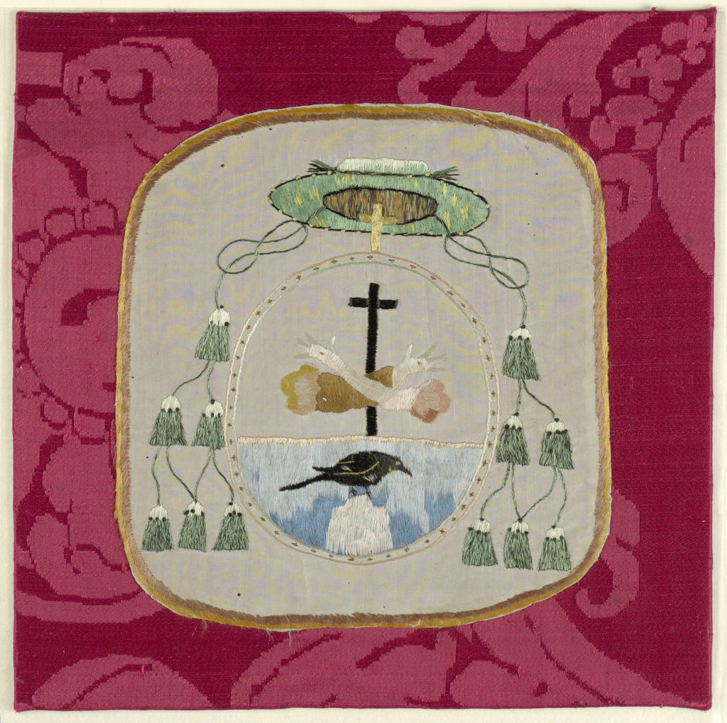 Coat of arms of a Bishop of the Franciscan Order (Cross, crossed arms with stigmata, above a black bird on a mount against a blue ground) with Bishop's hat (green with six tassels) worked on white taffeta within a narrow border of brown and yellow silk.