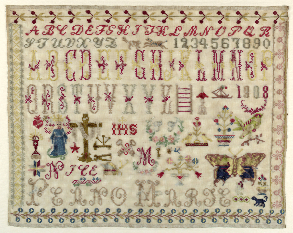 Two alphabets, set of numerals and assorted motifs within four floral borders.