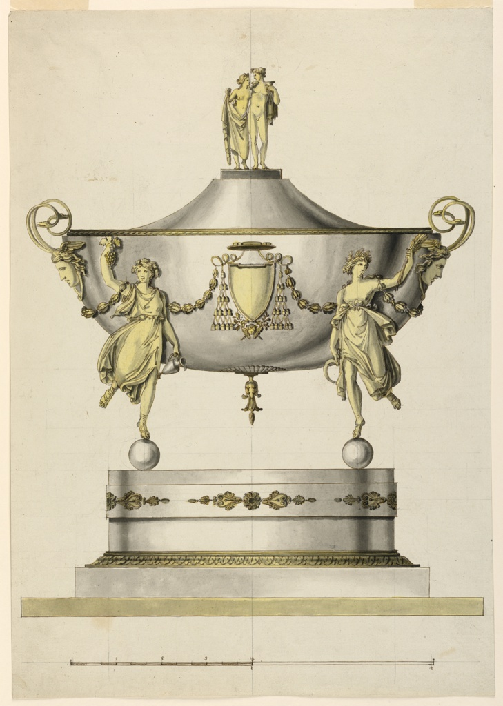 Vertical rectangle. Design for an ovoidal tureen. Below are a base and an ovoidal pedestal, which is surrounded by a band with an ornament of palmettes beside rosettes. The bowl is supported by female allegorical figures of the seasons, standing upon balls. Autumn is shown at left holding grapes and a wine jar, Summer is shown at right holding grain. Pairs of festoons wrap around their outermost shoulders. The handles of the tureen are pairs of snakes, rising from Medusa masks at left and right. The cover is flattened on top, where figures of Ariadne and Dionysius stand together. Scale at bottom.