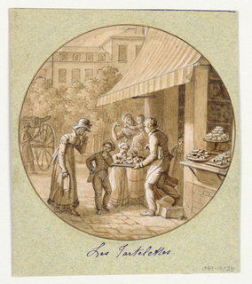 Design for a painted porcelain plate, rondel. Scene outside a pastry shop.  A figure of a man wearing apron, right middleground, offers a selection of tarts from a tray to a young boy and girl, center middleground.  An elegantly dressed woman, left foreground, possibly their mother, appears to be telling the children to take only one tart.  A woman holding a baby, center middleground, holds a tart which the baby is trying to reach.  Two platters and a compote stand filled with tarts in right foreground, are displayed on a shelf next to the shop entrance from which a striped awning hangs.  A carriage and driver, left rearground, await the family.