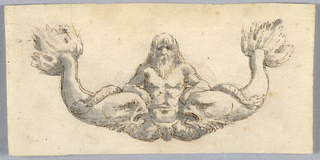 Horizontal rectangle. Decorative architectural detail design, possibly for the base of a cartouche or part of an entablature. Figure of a male mermaid with long hair and beard at the center of two dolphins.