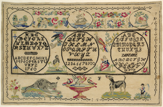 Horizontal rectangle enclosing five alphabets, one set of numbers in black with multicolor motifs of people, birds, and animals.  Three cartouches at top with floral swags.