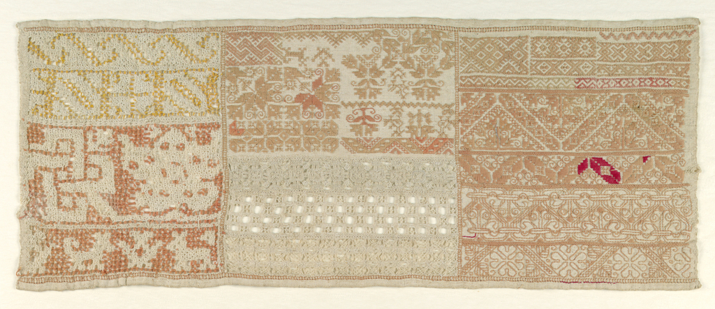 Horizontal rectangle divided into three columns of geometric pattern bands, in white withdrawn element work or embroidered in red.