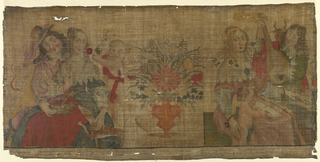 "Panel of natural colored linen plain cloth painted in polychrome tempera showing two scenes from a series depicting the five senses. At left, figures of a seated man and woman are offered a flower to smell by a putto. At right, a woman playing an organ or dulcimer and a man playing a lute, a figure of a putto singing and reading from a songbook. Inscription above the scene reads ""AUDITUS."" A vase of flowers separates the two scenes. At bottom, lines from some of Paul Scarron's poems in French and Latin."
