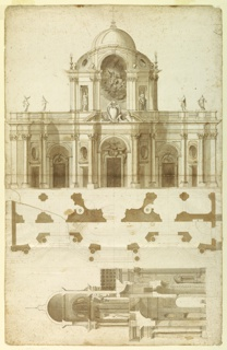 Proposed facade design for San Giovanni, Laterano, in Rome, Italy. The narthex has seven entrances.  Above central door is a blank papal escutcheon.  At center, a cupola upon a high drum, with arches in front and at sides, if flanked by two half cupolas. On the back wall is a relief of Christ's Ascension, with statues of Christ and Mary in the side niches.  The section is drawn in a right angle to the elevation and plan.