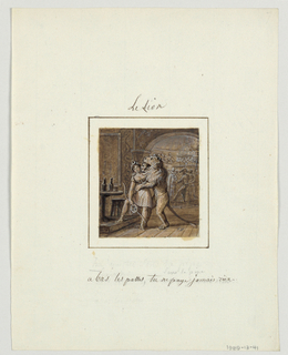 "Design for a painted porcelain plate, square format. Scene at a masquerade party in a bar.  Figure of a man dressed in a lion's costume, center forground, has his arms around a young woman dressed as Diana who he appears to be kissing.  She wears a crescent crown and holds a bow.  She tells him to ""take his paws off of her."" She has her right foot planted on a platform upon which is a table with two wine bottles and a stool, left middleground.  Behind an arched opening, right background, there are two costumed figures who appear to be dancing."