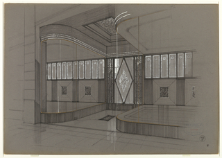 Design for an art deco store entrance with curved windows framed by gold bands. In the deeply recessed passage way, the  glass/crystal and wrought iron door is decorated with a large diamond shape flanked by chevron-patterned panels.  The ceiling of entrance area has a deeply recessed square wrought iron panel.   At the back of the vitrines, is a row of narrow, vertical glass or mirrored panels above a dado (wood or painted square panels?) accented by vertically grooved panels.
