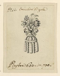 Jewelry design for an earring. Above, a bunch of flowers and leaves fastened by a knotted ribbon, on top of a pavilion without a base, composed of bands and rows of diamonds.