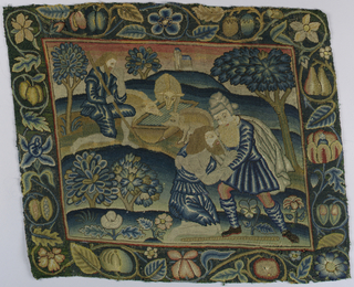 Solidly worked multicolored pillow cover with a conventionalized fruit and flower border that encloses a scene from the Parable of the Prodigal Son; scene depicted is his return to his family as destitute, desperate and begging to return as a servant.