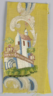 Yellow horizontally ribbed ground.  Large-scale polychrome silk embroidered design of flowers, fruit, ornamental rococo scrolls, and architectural motifs. Trimmed with silver galloon. Backed with red linen. Front composed of a number of small pieces. Made of material from 18th century France.