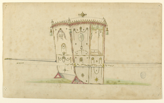 Three-quarter view of a sedan chair diminutively decorated with cartouches  containing bird and cupid, and circular medallions with chain-like swags. Tassels hang at corners of roof line and an urn draped with swags crowns the roof.