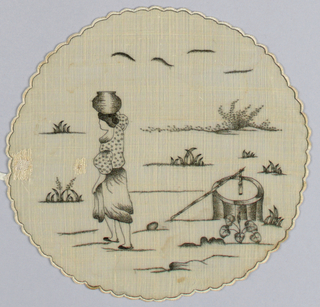 Small round piece of piña cloth embroidered in black silk. design shows woman carrying water from wall in a jar balanced on her head. A few clumps of plants.