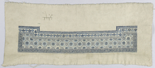 """Sleeve band of grey cotton, embroidered in wool at one side in small-scaled geometric pattern, outlined by a running and repeated """"T"""" pattern."""